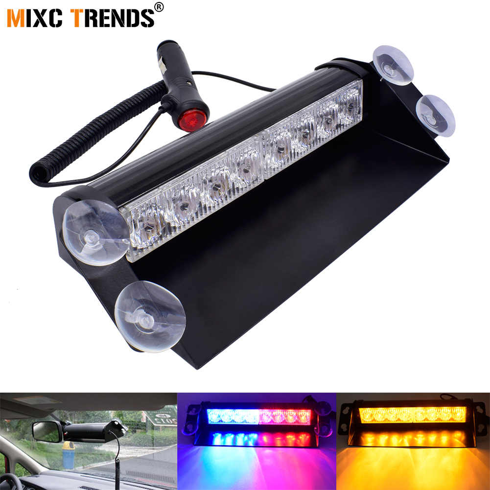 1 pcs 8 LED Dash Dashboard Car Windshield Aviso De Emergência do Flash Strobe Polícia Luz com 12 v Cigarro Mais Leve e ventosas