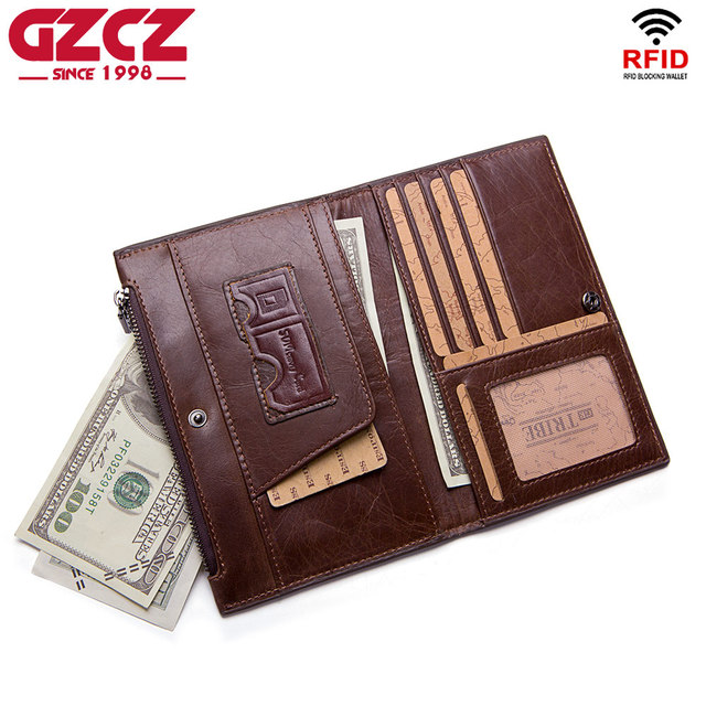 e4046b5a4263 GZCZ Men Wallet Clutch Genuine Leather Brand Rfid Wallet Male Organizer Cell  Phone Clutch Bag Large Capacity Long Coin Purse