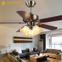 Винтаж Европейский железного дерева светодиодные 3 головки Вентилятор потолочный светильник для гостиной спальня Ресторан потолочный све