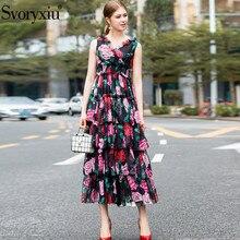 Svoryxiu 夏滑走路豪華なティアードフリルケーキロングドレス女性のローズ花柄休暇パーティーセクシーなマキシドレス