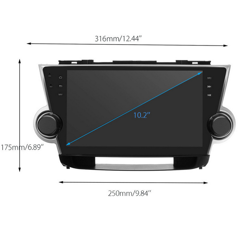 Quad Core 10.2 Android Car Radio GPS Navigation Player Car Stereo for Toyota Highlander 2009-2014 Bluetooth 4G Build in Wifi
