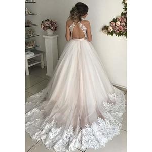 Image 3 - V Neck Tulle Wedding Dresses 2020 Applique Lace Sashes A Line Backless Floor Length Sleeveless Bridal Dress Vestido De Noiva