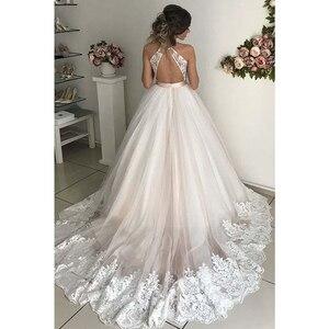 Image 3 - V neck tule vestidos de casamento 2020 applique rendas faixas a linha sem costas até o chão sem mangas vestido de noiva