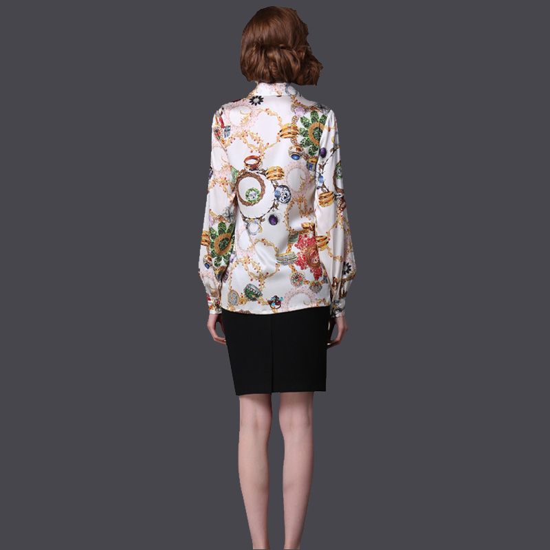 Pure Mulberry SILK blouse Women long sleeve work Brand Print Satin - Women's Clothing - Photo 3