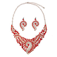 2017 New Women Fashion Jewelry Element Bling Rhinestone Water Drop Pendant Necklace Earring Jewelry Set for Party Gift