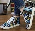 Новая Коллекция Весна Осенняя Мода Обувь Ботинки Холст Повседневная Обувь для Печати Черепа Популярные мужские Ботинки Моды MSK15