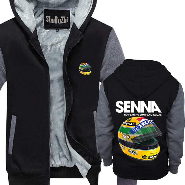 747495a5b45 new arrived Ayrton Senna Helmet shubuzhi men winter thick fleece jacket  coat sweatshirt cool zipper hoodies casual hoody