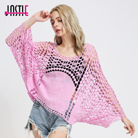 Jastie Floral Embroidered Shirt Top Patchwork Crochet Lace Poncho Blouse Batwing Sleeves Loose Boho Crop Tops