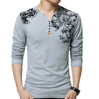 Spring Summer Long Sleeve Men S Tshirt Cotton V Neck Casual Classic Style Men Tops Male