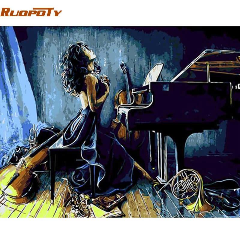 RUOPOTY Frame piano girl DIY Painting By Numbers modern wall painting unique gift home wall art picture Calligraphy painting
