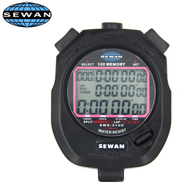SEWEAN Stopwatch SW8-3100 Digital Chronograph 1/100 second Sports stop watch Counter timer 3 row 100 memories Lap split 1 set v2 plastic motorcycle lap timer outdoor motor racing track infrared ultrared tool device lap time 1 second interval time