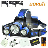 B21 BORUiT Cycling light 6000LM XM L2+2*XPE Blue Beauty of Enthusiasm Headlamp LED Hunting Headlamp Micro USB Headlight Torch