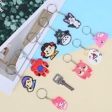 Fashion 1Pcs Cute Mix Cartoon Silicone Keychain For Women/Man Key Cover Caps Ring Holder Kids Gift