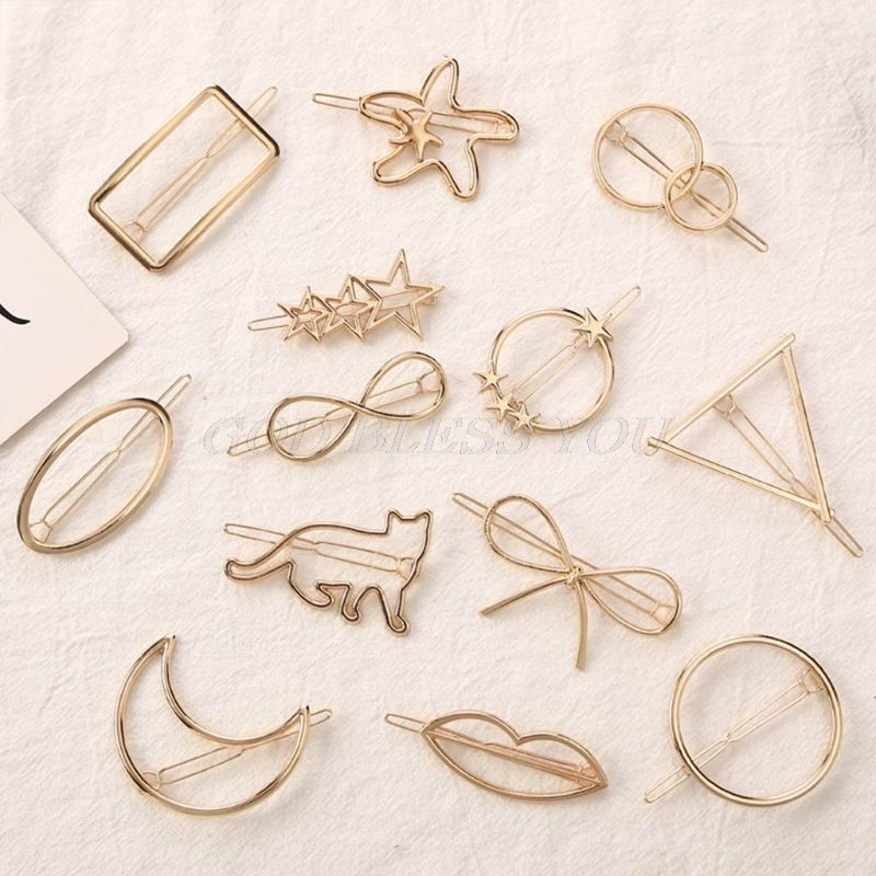13 Styles Women Metal Alloy Minimalist Hair Clip Hollow Geometric Triangle Bowknot Lips Shape Hairpins Ponytail Holder Clamp