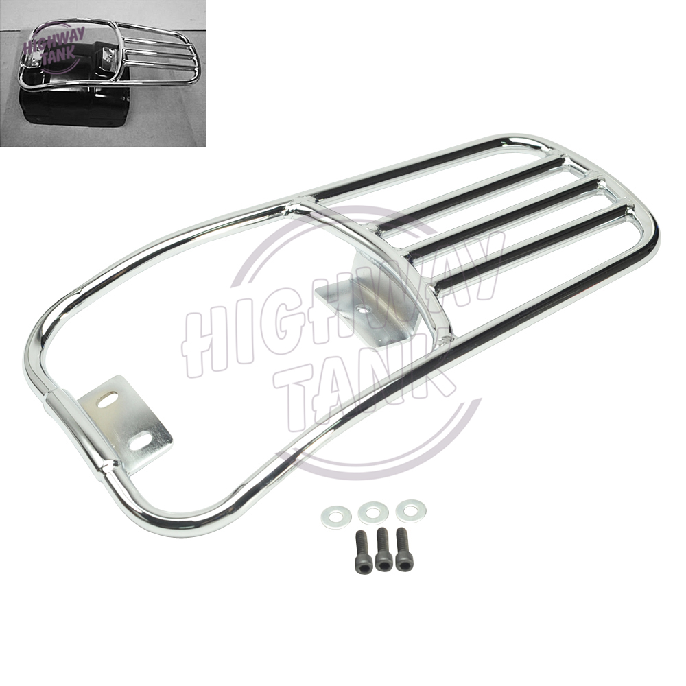 Chrome Motorcycle Rear Fender Luggage Rack Moto Rear mounting Kit case for Harley Softail Deluxe 2006-2016 Fatboy 2007-2016 motorcycle bike parts custom rear luggage rack mount pole with american usa chrome flag for harley