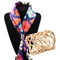 2016 Новый высокого качества Прибытия ювелирные изделия золота Полые роза шарф клипы Цилиндрические броши для женщин