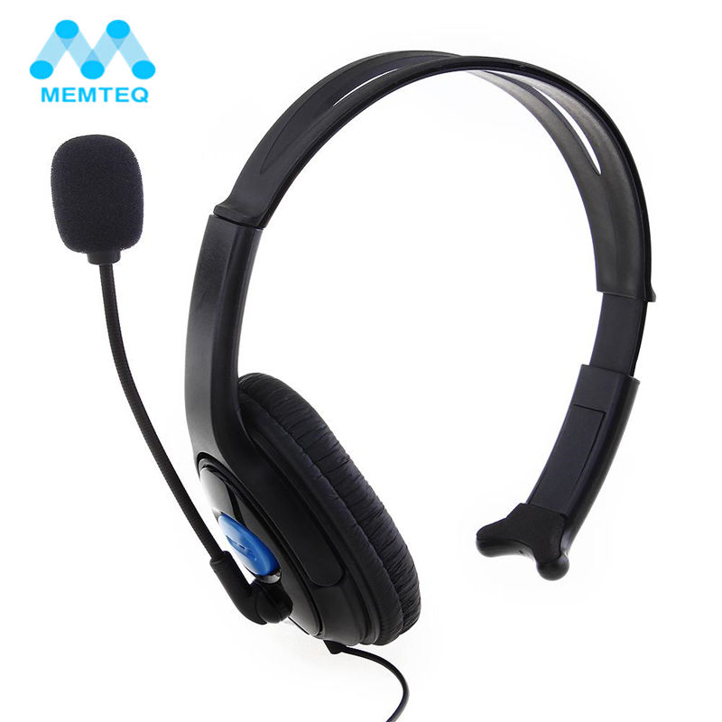 MEMTEQ 3.5mm Wired Gaming Chat Headset Headphone Microphone Noise Canceling Earphone for Sony Playstation 4 PS4 Black Accessory marsnaska top quality wired adjustable headbandgaming chat headset headphone microphone for sony ps4 playstation 4 black