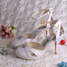 Wedopus MW704 Sapato Women Wedding Shoes Set White Satin High Heels with Ankle Strap