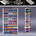 2016 New Standing 10 Tier Shoe Shelf Rack Organizer Space Saving Shoe Rack White Shoes Organizer