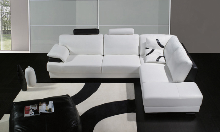 Free Shipping 2013 European Modern Design Living Room Furniture With Ottoman Small L Shaped Genuine Leather Corner Sofas