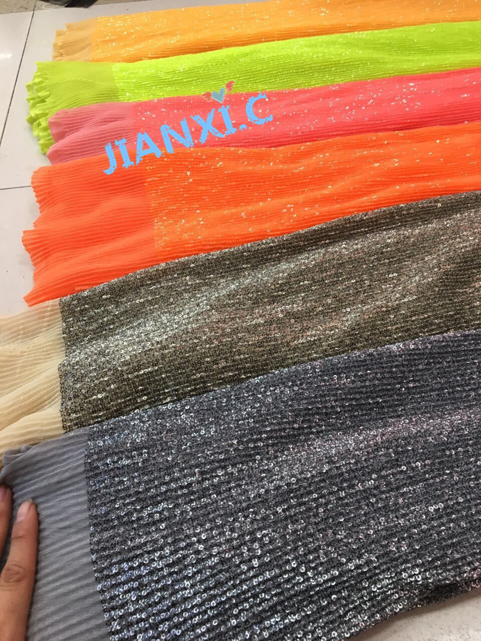 10 colors best Quality sequins French Tulle Lace Fabric JIANXI C 72322 embroidered Lace Fabric for