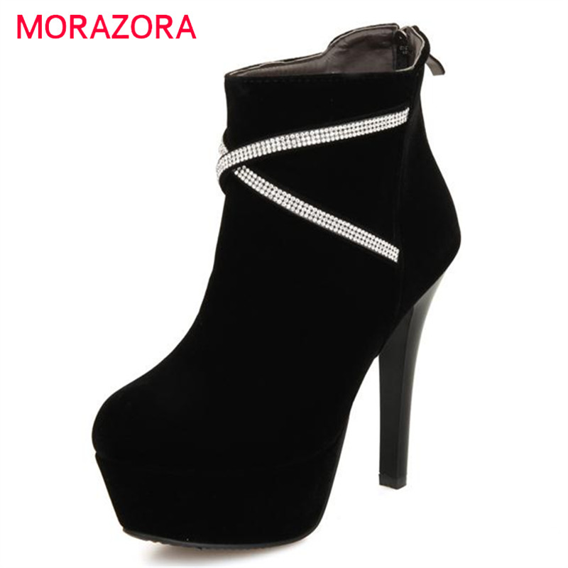 MORAZORA Thin high heels boots women spring autumn wedding party platform boots rhinestone mixed colors ankle