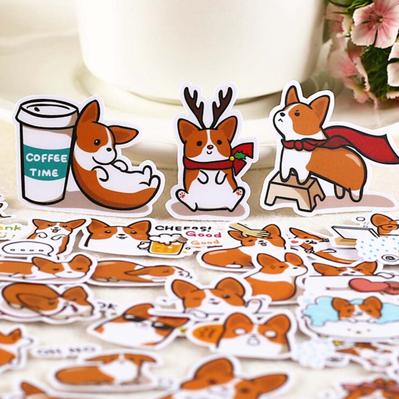 39pcs/set Creative Cute Self-made Corgi Dog Cute Dog Scrapbooking   Decorative Stickers