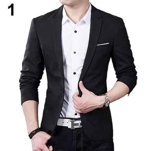 Chaqueta de traje de hombre ajustada Formal para fiesta de negocios con solapa de un botón y bolsillos de manga larga para otoño