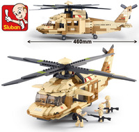 Sluban 0509 Military Helicopter Block Plastic Building Blocks Airplane Model Construction Hobbies Bricks Children Gift Toys