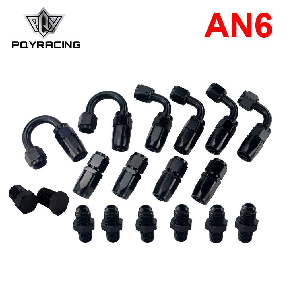 2Pcs AN-6 6AN 0 45 90 180 Degree Oil Swivel Straight Hose End Fitting Adapter