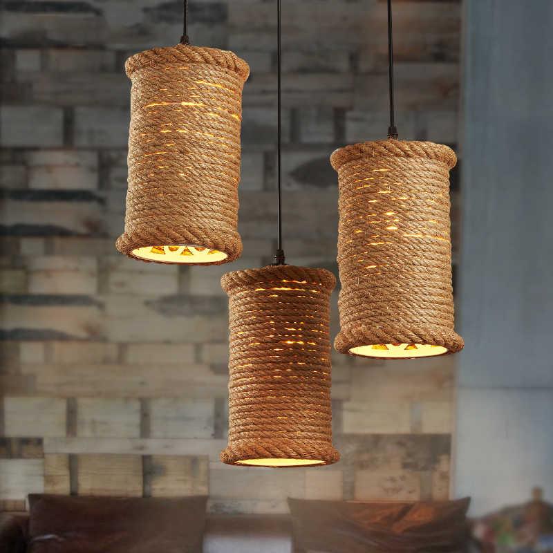 Американский кантри Железный пеньковый веревочный подвесной светильник Лофт кухня столовая подвесная прямоугольная лампа Винтаж кафе бар освещение декоративные светильники