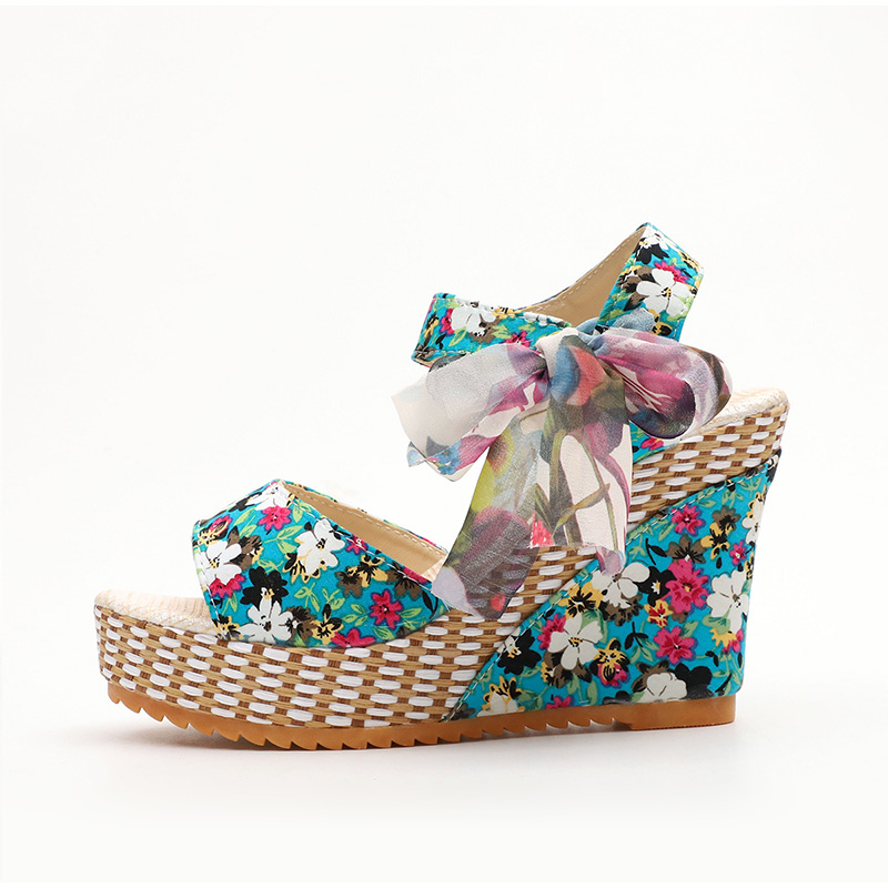 HTB1Gma7aoY1gK0jSZFMq6yWcVXaW Women Summer Wedge Sandals Female Floral Bowknot Platform Bohemia High Heel Sandals Fashion Ankle Strap Open Toe Ladies Shoes