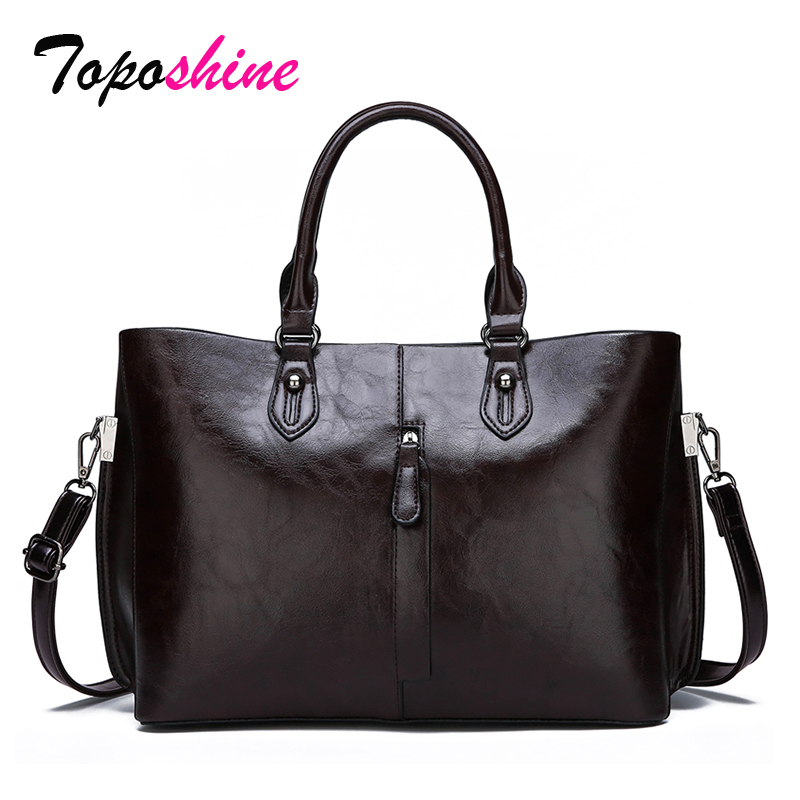 Toposhine Big Bag Messenger-Bag Ladies Handbag Wild-Shoulder Casual New-Fashion Pu Oil-Wax