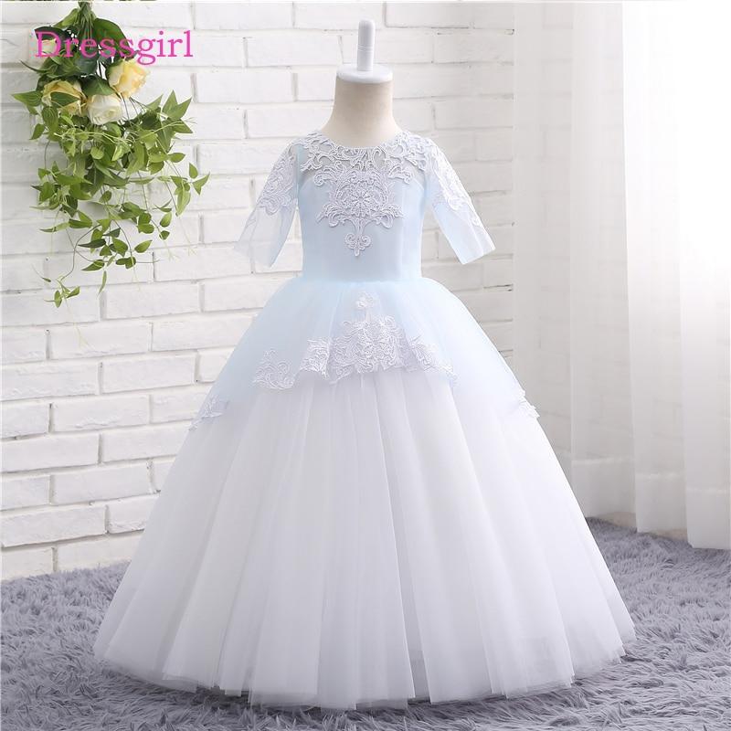 Sky Blue 2019   Flower     Girl     Dresses   For Weddings A-line Short Sleeves Tulle Lace First Communion   Dresses   For Little   Girls