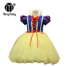 Baby Girls Snow White Cosplay Dress Halloween Party Princess Dress Children Tulle Bow Ballet Ball Gown Tutu Kids Dresses Costume kids girls halloween christmas party dresses snow white anna elsa minnie princess tutu dress children dance cosplay cute costume