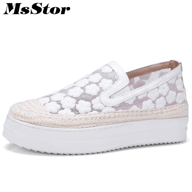 MsStor Mesh Breathable Women Shoes Fashion Embroider Casual White Women Flat Shoes 2018 New Spring Round Toe Slip On Women Flats fashion women casual shoes breathable air mesh flats shoe comfortable casual basic shoes for women 2017 new arrival 1yd103