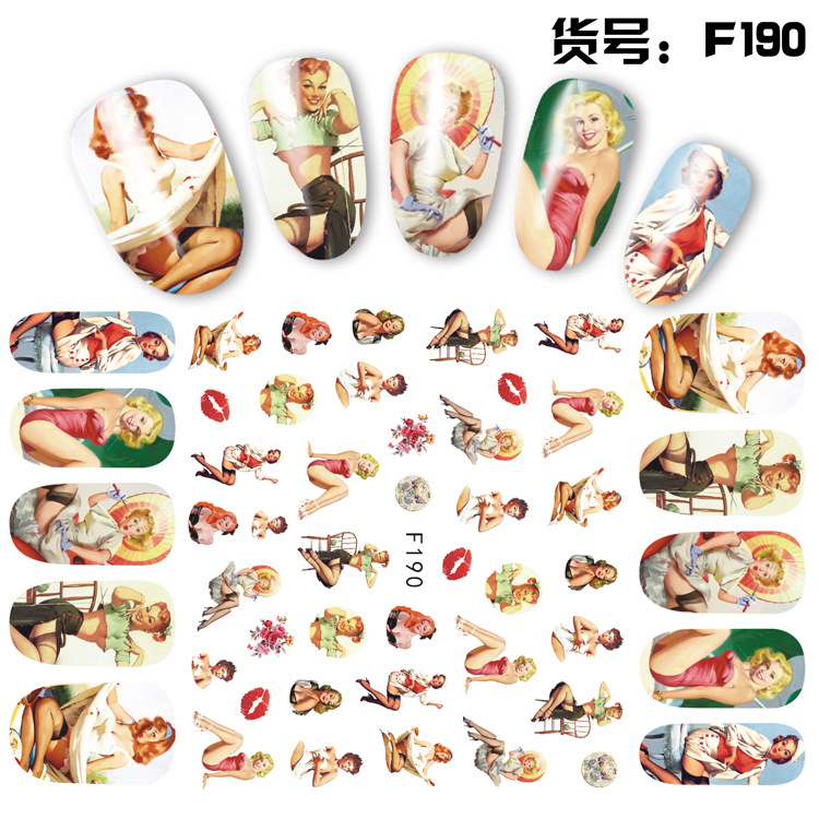 Newest F187 morden lady design 3D nail art sticker back glue nail decals template DIY nail manicure decoration in Stickers Decals from Beauty Health