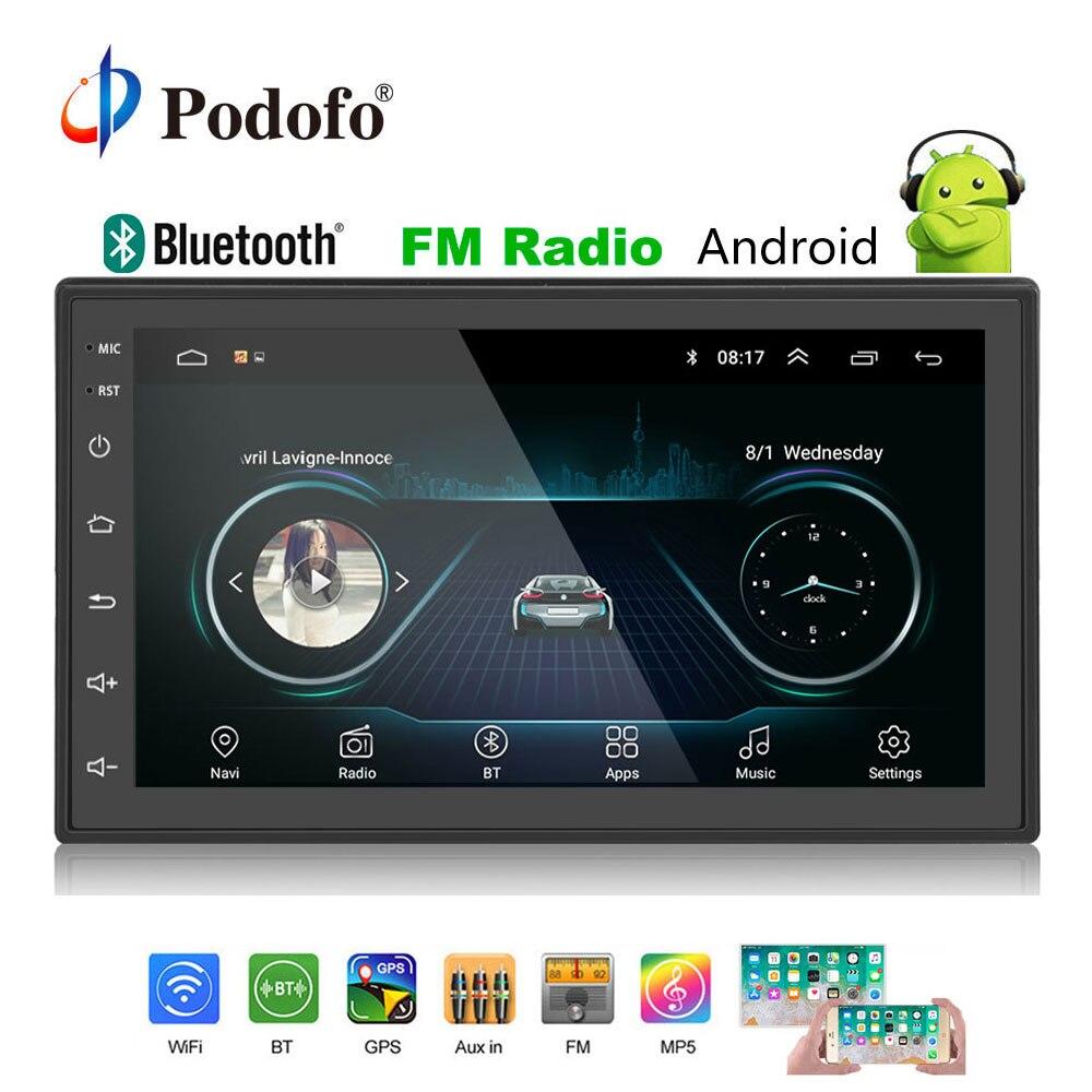 Podofo 2din Autoradio Android lecteur multimédia Autoradio 2 Din 7 ''écran tactile GPS Bluetooth FM WIFI auto lecteur audio stéréo