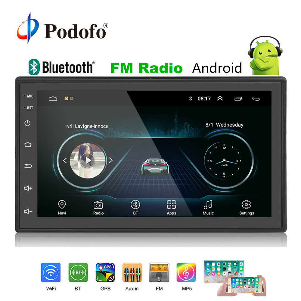 podofo 2din car radio android multimedia player autoradio. Black Bedroom Furniture Sets. Home Design Ideas