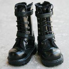 wamami 18# Black 1/4 MSD DOD BJD Dollfie Leather Boots/Shoes