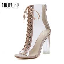NIUFUNI Plus Size Women Ankle Boots PVC Transparent High Heeled Rain Shoes Spring Autumn Peep Toe Bootie Mujer