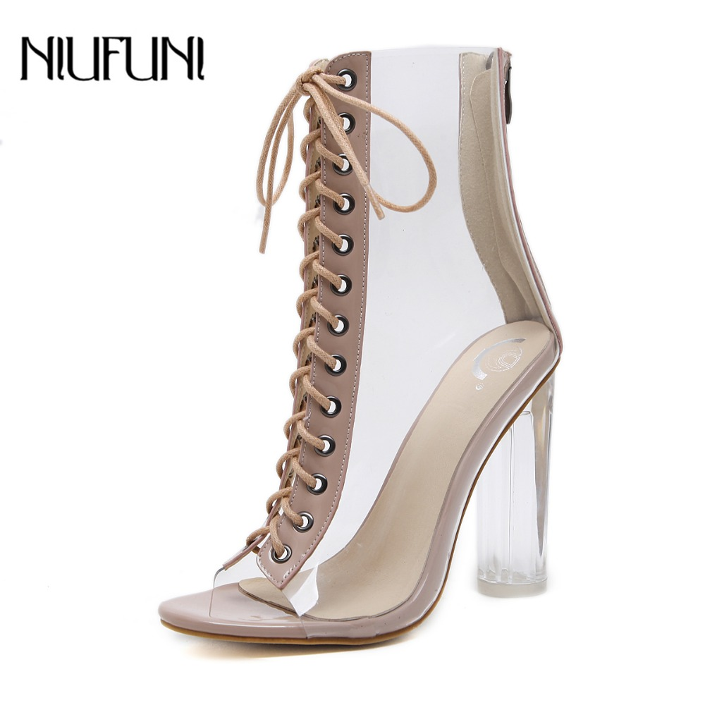 NIUFUNI Plus Size Women's Ankle Boots PVC Transparent High Heels Rain Boots Women Shoes Spring Autumn Peep Toe Botas Mujer
