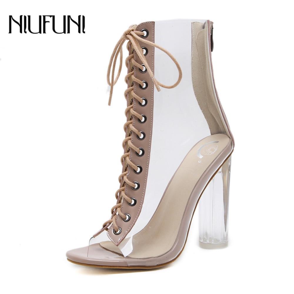 NIUFUNI Plus Size Women's Ankle Boots PVC Transparent High Heels Rain Boots Women Shoes Spring Autumn Peep Toe Botas Mujer