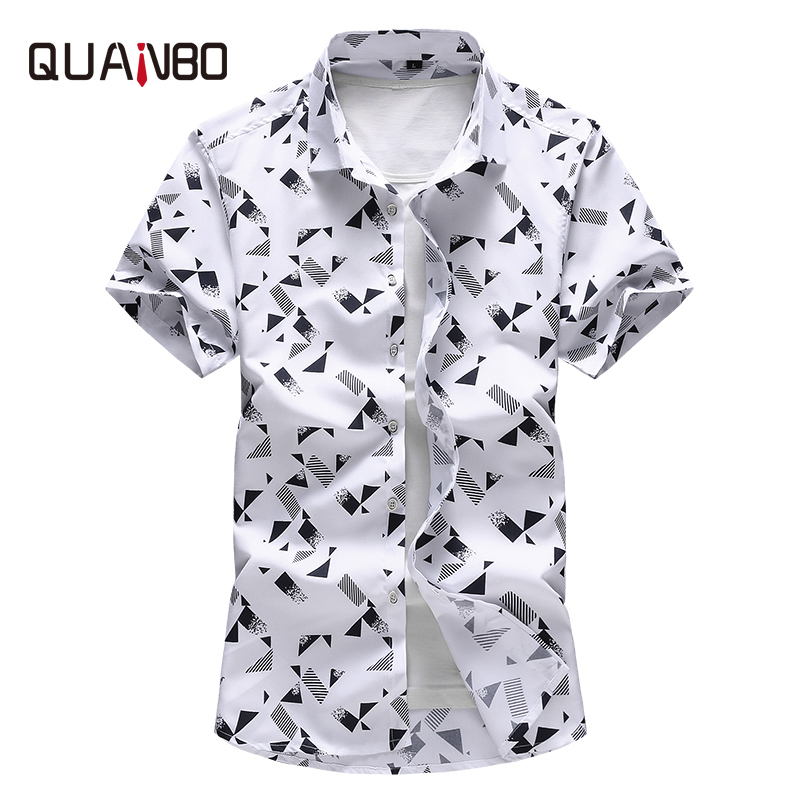 QUANBO Plus Size 5XL 6XL 7XL  Men Shirt 2019 New Arrival Summer Fashion Print Casual Short Sleeve Shirts Brand Clothing