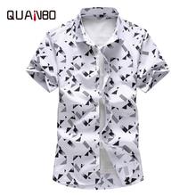 QUANBO Plus size 5XL 6XL 7XL  Men Shirt 2019 New Arrival Summer Fashion Print Casual Short Sleeve Shirts Brand ClothingCasual Shirts