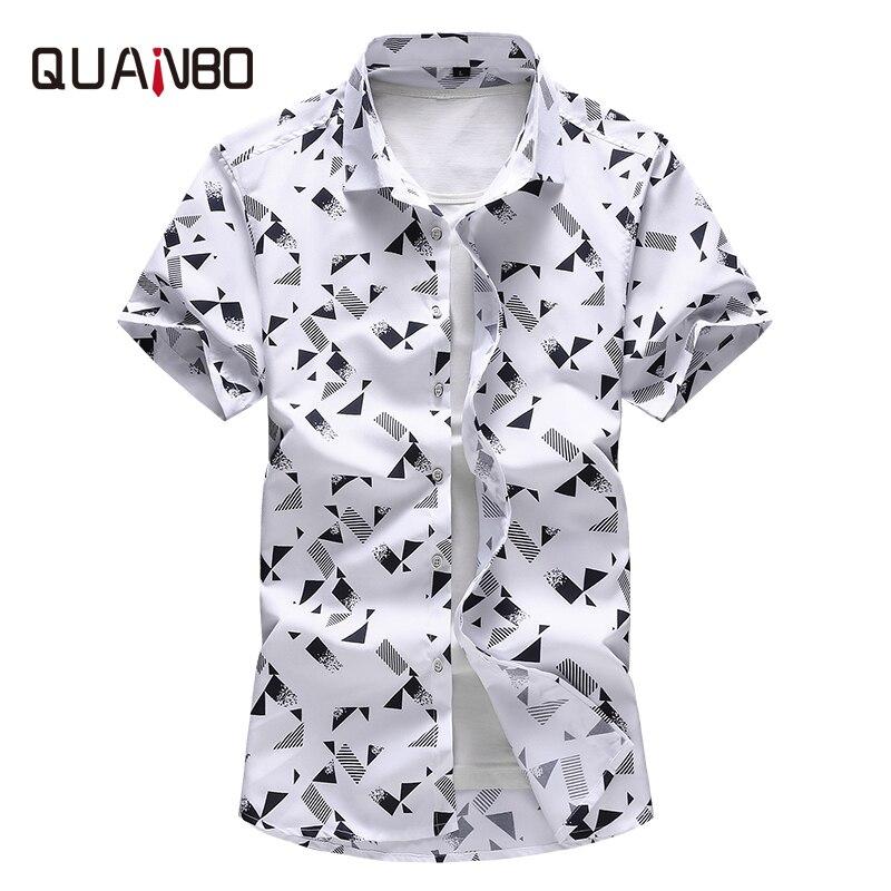 QUANBO Plus size 5XL 6XL 7XL Men Shirt 2019 New Arrival Summer Fashion Print Casual Short Sleeve Shirts Brand Clothing