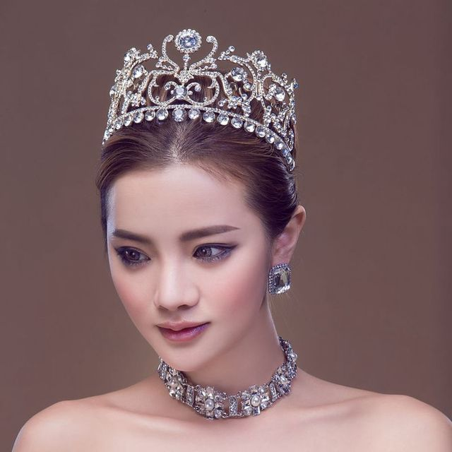 2017 Miss Universe Royal Regal Big silver Plated Quinceanera Bridal Tiara Crystal Queen Peacock Classic Rhinestone For Bride