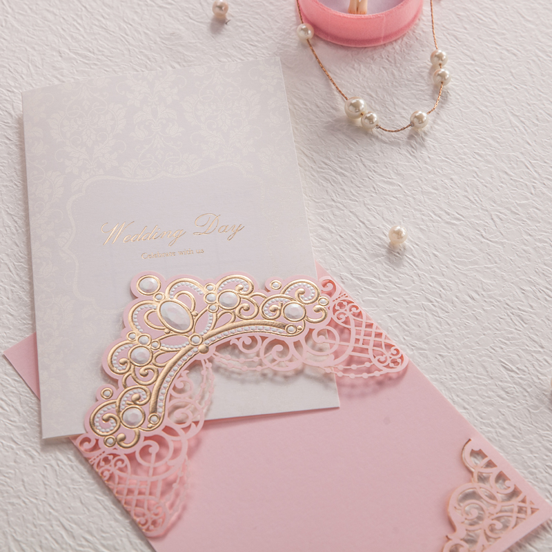 royal pink laser cut wedding invitations cards with gold embossed hollow flora design for bridal shower