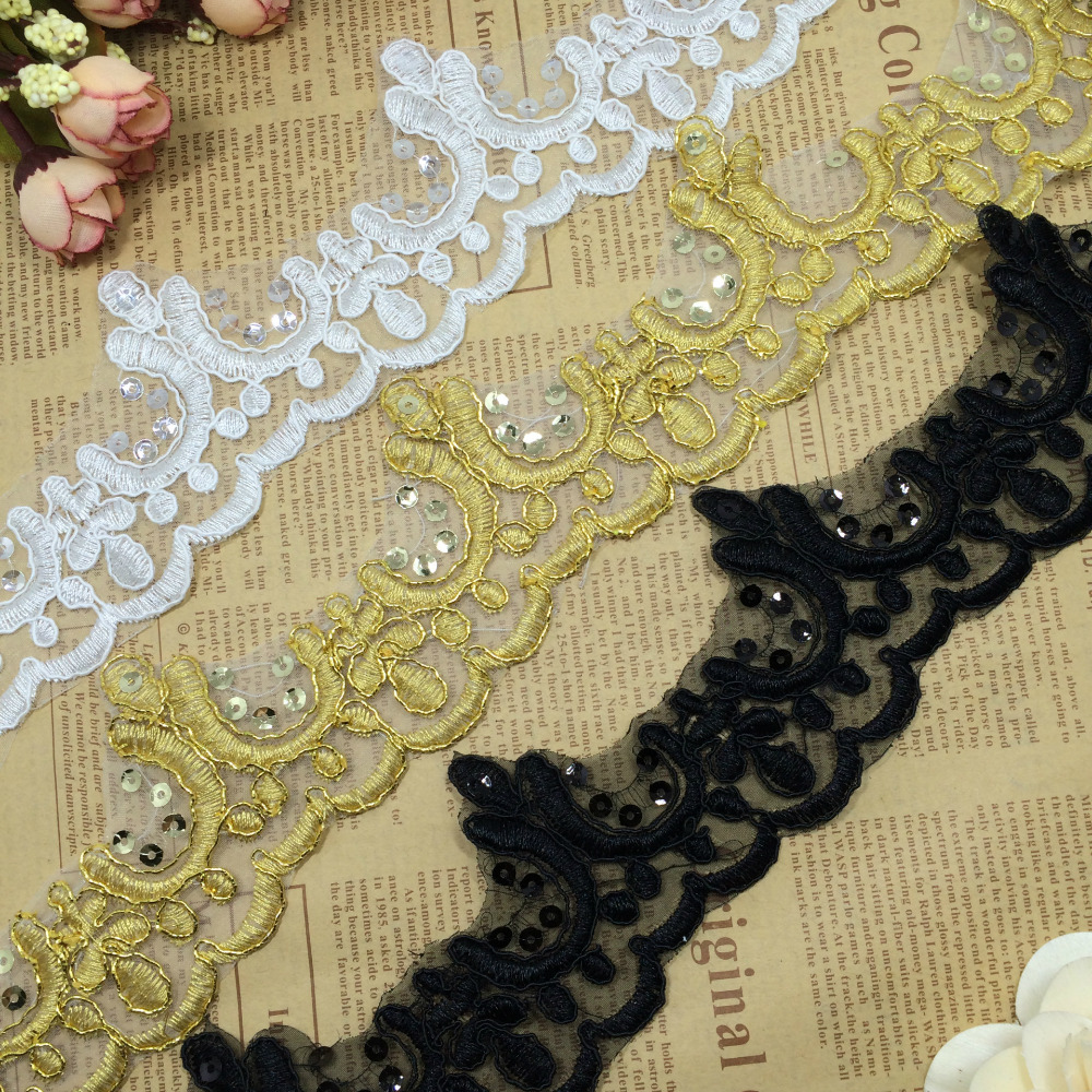 10Yards Gold White Black Wedding Dresses Lace Applique