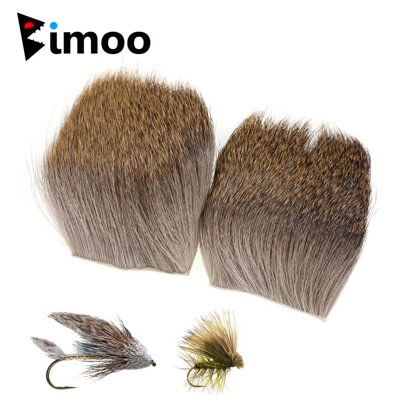 Bimoo 1PC 5CM * 5CM Deer Haar Patches für Minnow Fly Binden Material Trockenen Elch Haar Caddis angeln Fliegen Flügel, Der Natürliche Farbe